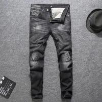 european street fashion men jeans retro black gray slim fit ripped jeans men vintage spliced designer hip hop denim punk pants