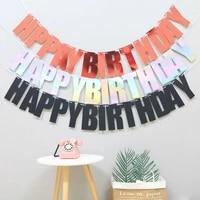 happy birthday paper banner bunting birthday party decoration hanging glitter flag garland banner boys girl baby shower supplies