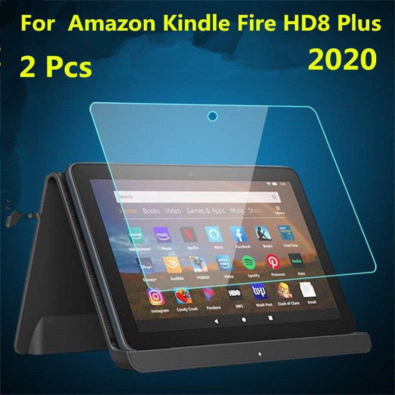 Protetor de tela de vidro temperado, 2 peças para amazon kindle fire hd 8 plus 2020, 8 polegadas, película protetora de tela de tablet