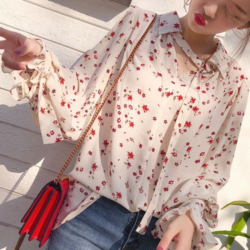 2020 High Collar Blouse Fashion Ladies Floral Long Sleeve Casual Shirt Top Loose Sleeve Printed Neck Blouse Shirt Top floral embroidered high low blouse