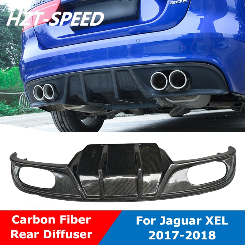 Fibra de carbono Real 4 tubos de escape parachoques trasero pala difusor de labio para Jaguar XEL 2017-2018