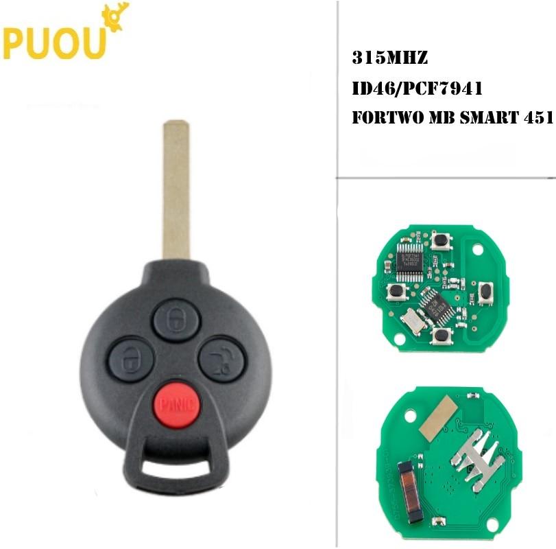 4 botones sin llave 315Mhz ID46 2007-2013 PCF7941 Chip transpondedor llave de Control remoto para Mercedes Benz Smart Fortwo MB Smart 451
