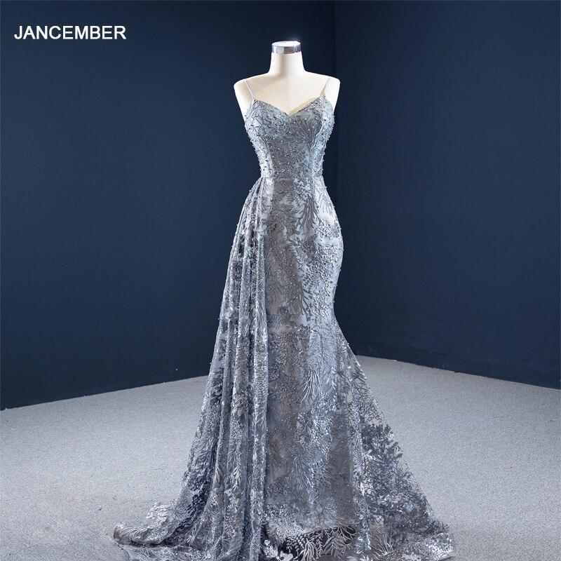 فستان سهرة رمادي مثير, فستان سهرة J67181 jancgbp لون رمادي مع أشرطة رفيعة رقبة على شكل V بدون أكمام مطرز باللؤلؤ 2021