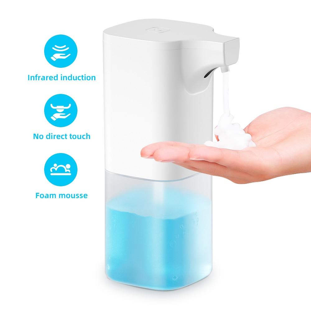 Dispensador de jabón de espuma portátil automático con sensor infrarrojo para el baño, cocina, balcón, sin ruido, botella dispensadora de líquido de baja potencia