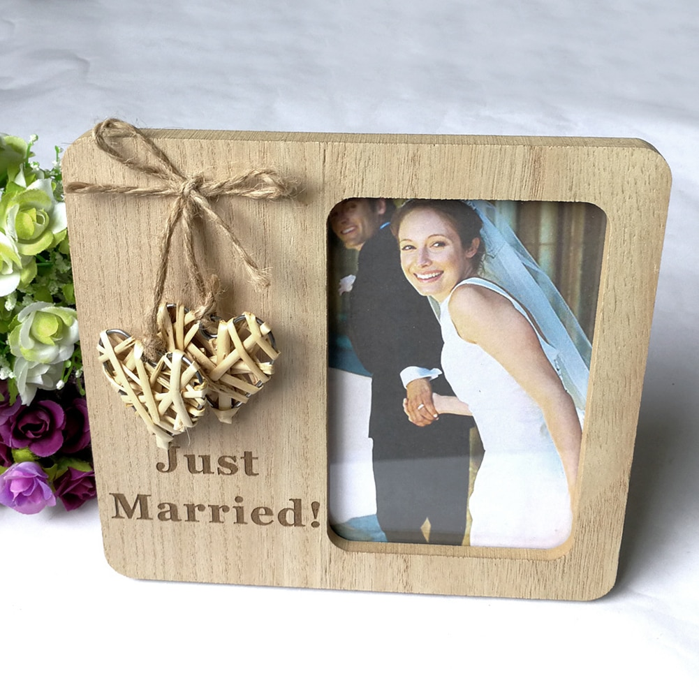DIY Photo Frame Nature Wooden Pendant Drop Ornaments Weaving Love Photo Frames Village Wedding Supplies Hanging Wall Decor