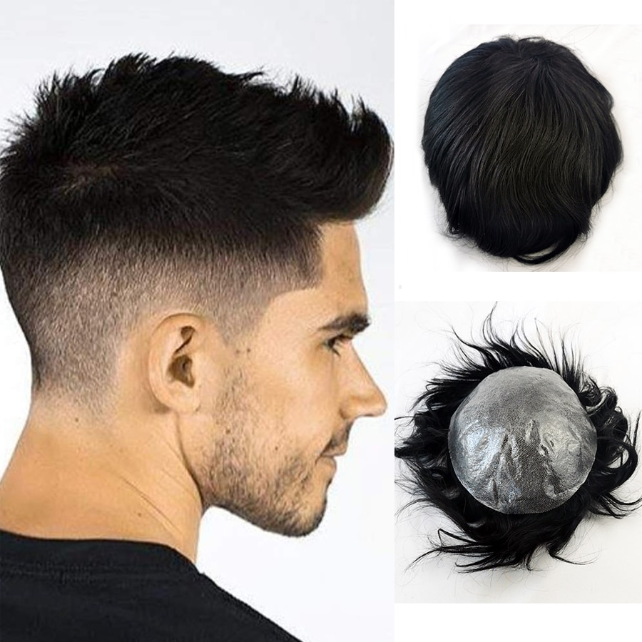 Full Skin Toupee Man Weave Hair Unit Black Mens Male Toupee Front Hair Line Human Hair Wigs Hand Tied Super Thin Skin Men Toupee