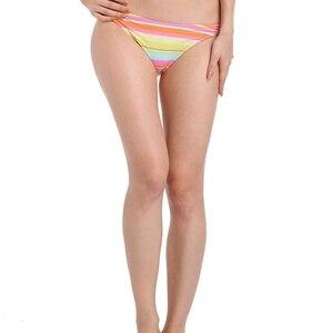 New Rainbow Stripes Bikini Shorts Panty Large Size Female Swim Bottom Europe High Quality Fully Lined Nylon Women Swim Panty 05#