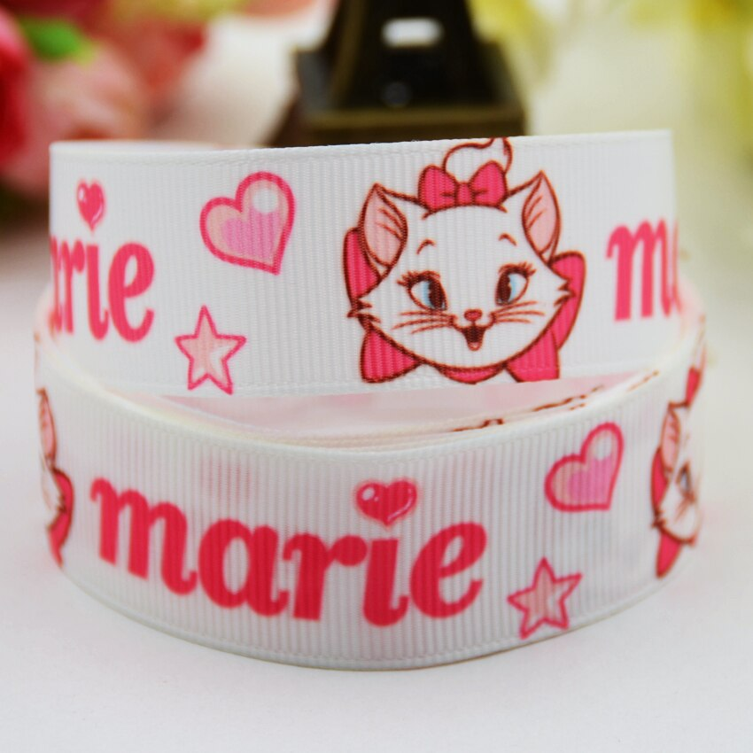 22mm 25mm 38mm 75mm Ruban satin Marie Cat Cartoon Printed grosgrain ribbon party decoration 10 Yards X-00983