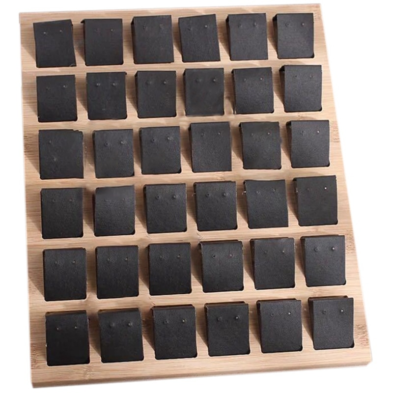 حامل بطاقات لأقراط الخيزران من الجلد الصناعي للأقراط وإكسسوارات المجوهرات