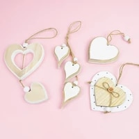 wooden heart pendant diy wood craft hanging ornament wedding birthday favor home party supplies