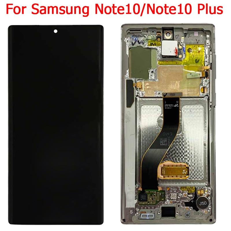 الأصلي سوبر AMOLED لسامسونج غالاكسي نوت 10 زائد شاشة LCD مع الإطار SM-N970F N975F N9700 شاشة تعمل باللمس محول الأرقام الجمعية