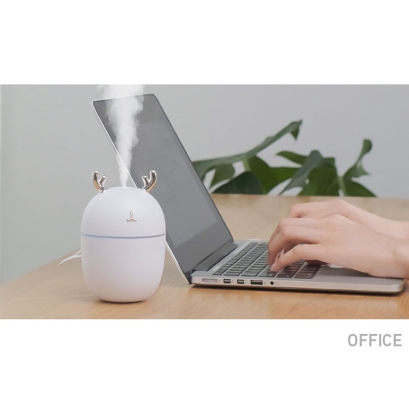 Cute Antlers 300ml Mini USB Humidifier Mute Aroma Essential Oil Diffuser Fogger Aromatherapy Mist Maker with LED Light enlarge