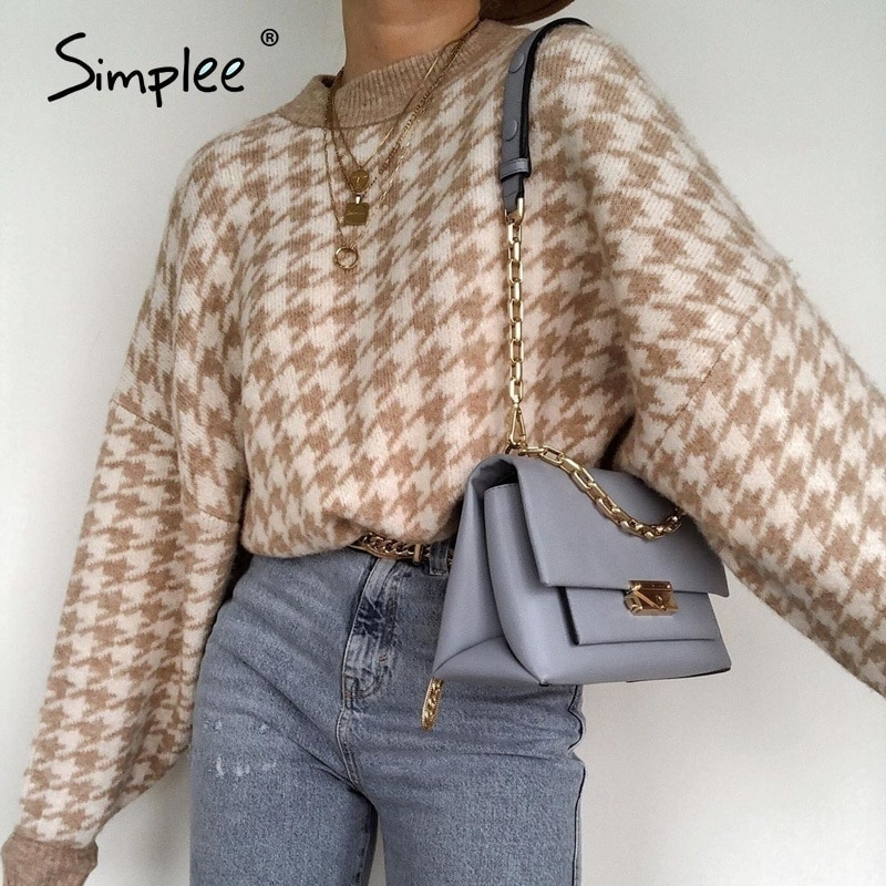 Simplee Women geometric khaki knitted sweater women casual Houndstooth lady pullover sweater female