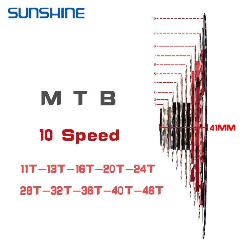 SUNSHINE-10S Couronne de volant pour vélos de route et VTT, 11-25T 28T 32T 36T 40T 42T 46T 50T pignons de vélo, volants Cassette