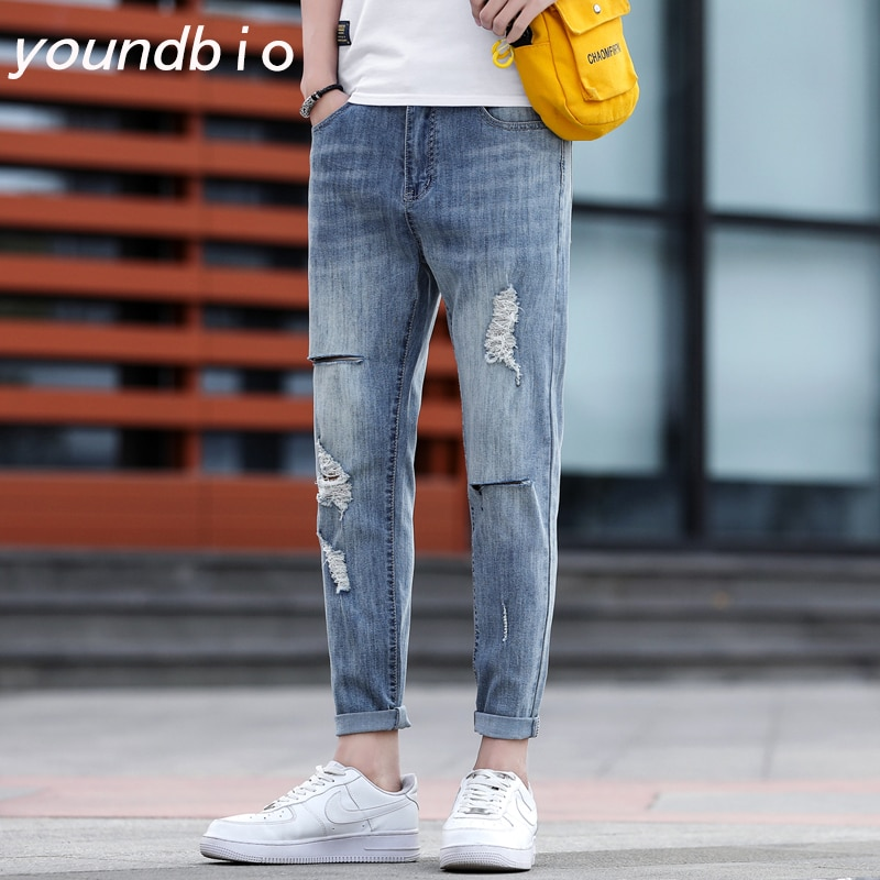 Men Ripped Jeans Summer Streetwear Blue Slim Fit Ankle-Length Pants Pants New Trend Nine-Point Fashi