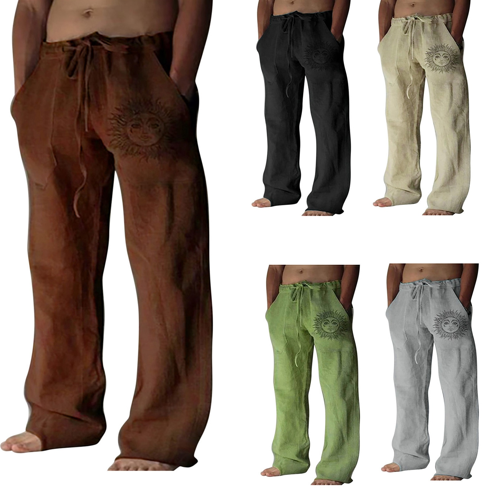 Cargo Pant New Style Linen Trousers 2021 Solid Color Cotton Elastic Waist Loose Casual Long Pants Th