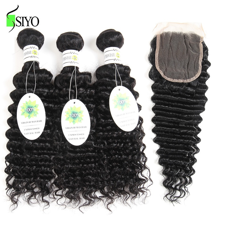 """Siyo Brazilian Deep Curly 3 Bundles with Closure 8-26"""" M Remy Human Hair Bundles with Lace Closure 4*4 inch"""