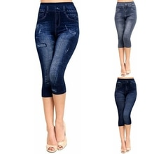 3/4 Yoga Pant Women High Waist Elastic Slim Jeans Leggings Capri Pants Jeggings Female Short Legging