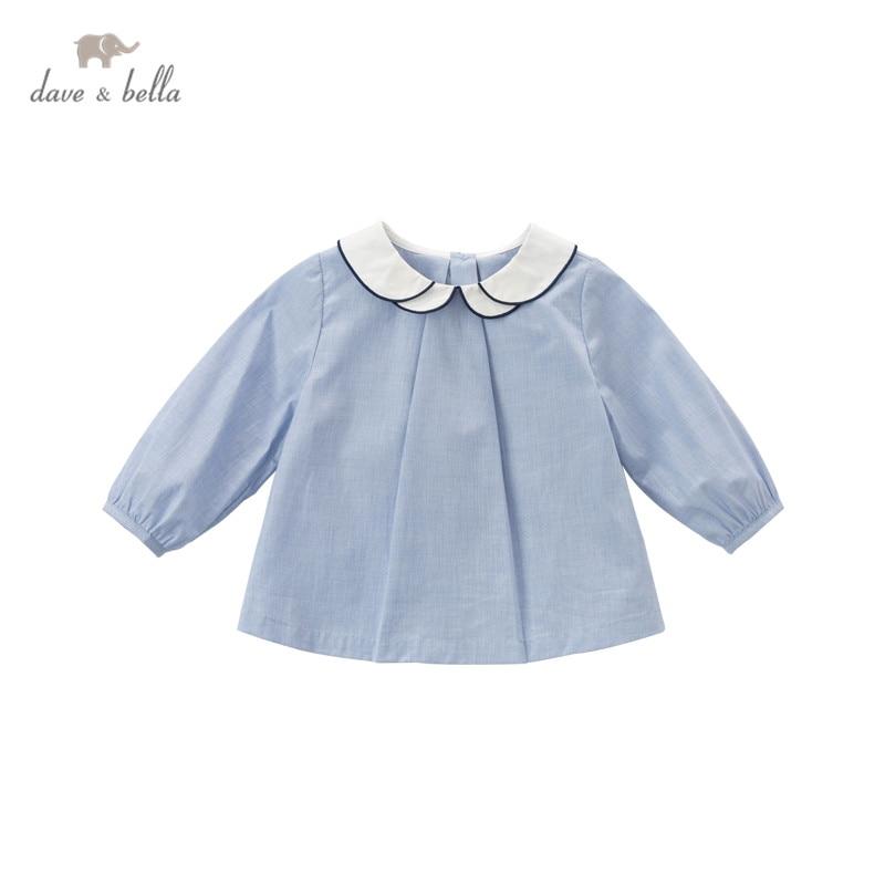 Модная Однотонная рубашка на пуговицах для маленьких девочек от dave bella, DB16705, топы для малышей, детская одежда высокого качества|Блузки и рубашки| | АлиЭкспресс