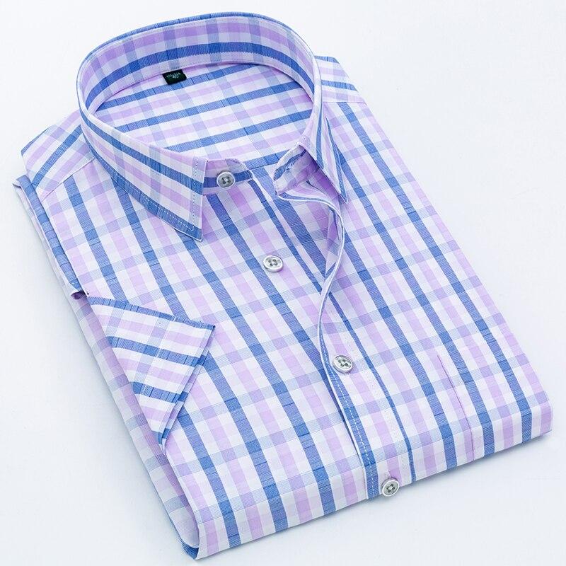Рубашка в клетку, мужская рубашка, новинка 2021, летняя модная мужская рубашка в клетку, мужская рубашка с коротким рукавом, мужская рубашка/Ки...
