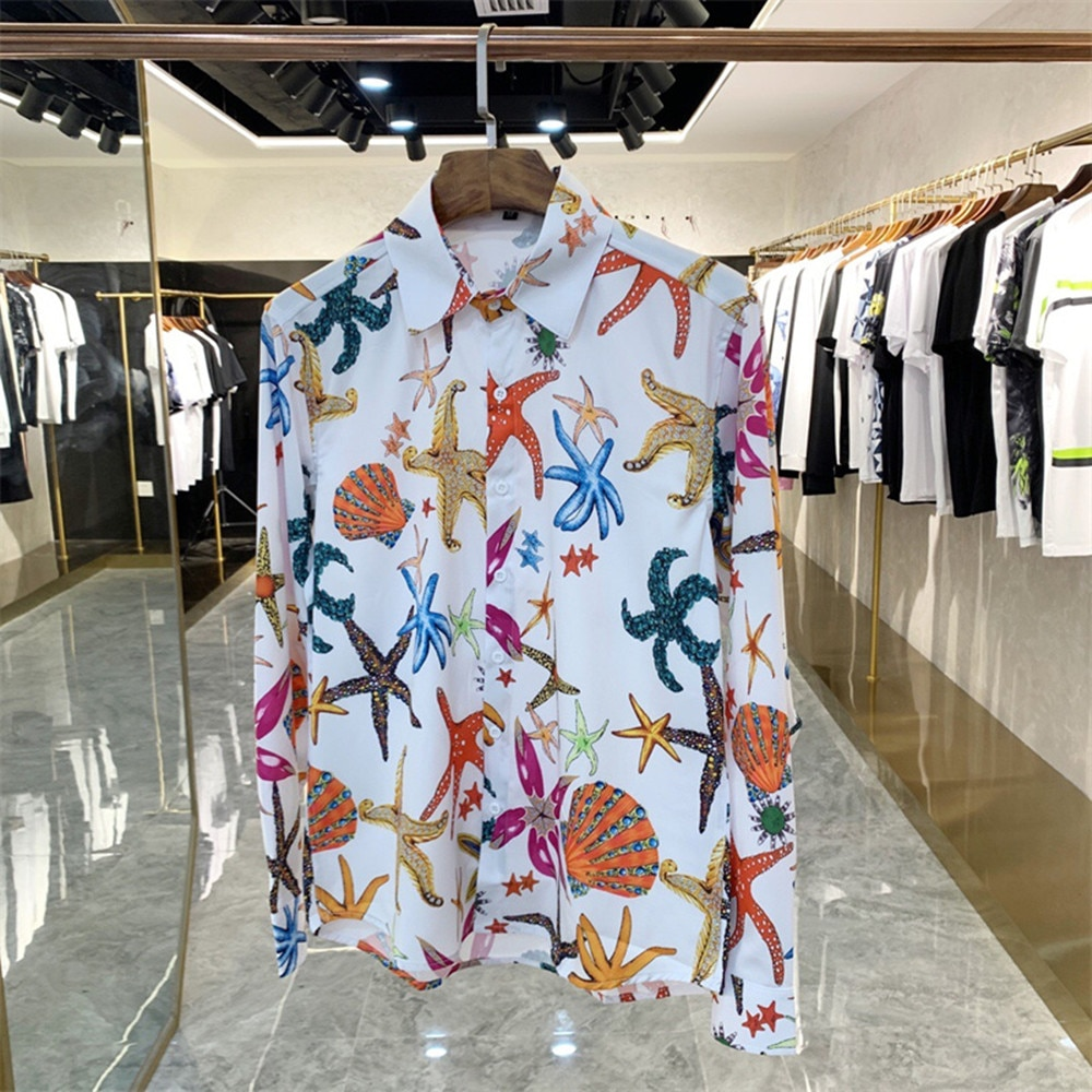 Autumn Fashion print Men's Long sleeves casual Shirts C226