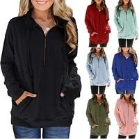 zogaa autumn fashion womens hoodies pocket half zipper tops ladies casual long sleeve hoodies solid color top loose sweatshirts