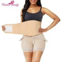 WonderBeauty Women Slimming Tummy Control Faja Post Surgery Compression Ab Board Liposuction Beige Waist Trainer Shapewear