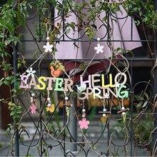 Gelukkig Lente Pasen Brief Bloem Houten Ambachten Kaart Hanger Festival Party Scene Llayout Thuis Opknoping Ornamenten Decoraties