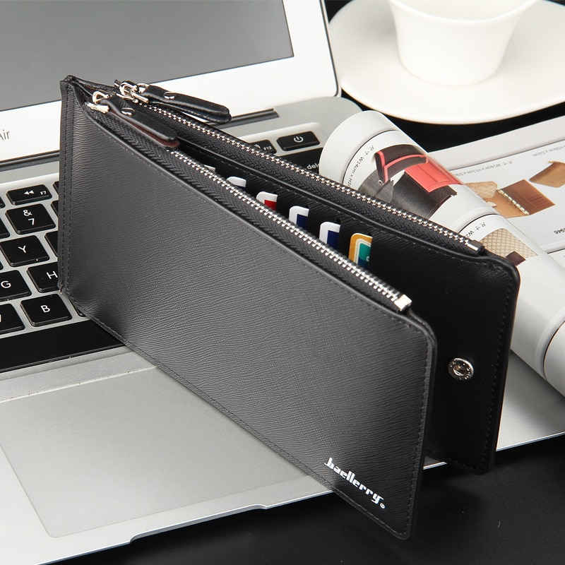 Men Wallet Credit Card Holder Leather ID Card Case Bank Wallet Large Capacity Bifold Clutch Phone Ba