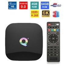 Q plus smart tv box android 9.0 allwinner h6 4gb/64gb 32gb 6k h.265 media player usb3.0 2,4g wifi definir caixa überlegene mídia w