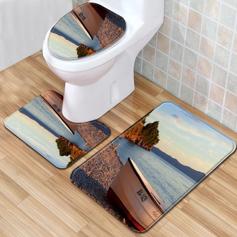 Toilet Set mMat 3 Piece Beach Landscape Carpet Set Bathroom Kitchen Non-slip Rug Toilet Mat Set