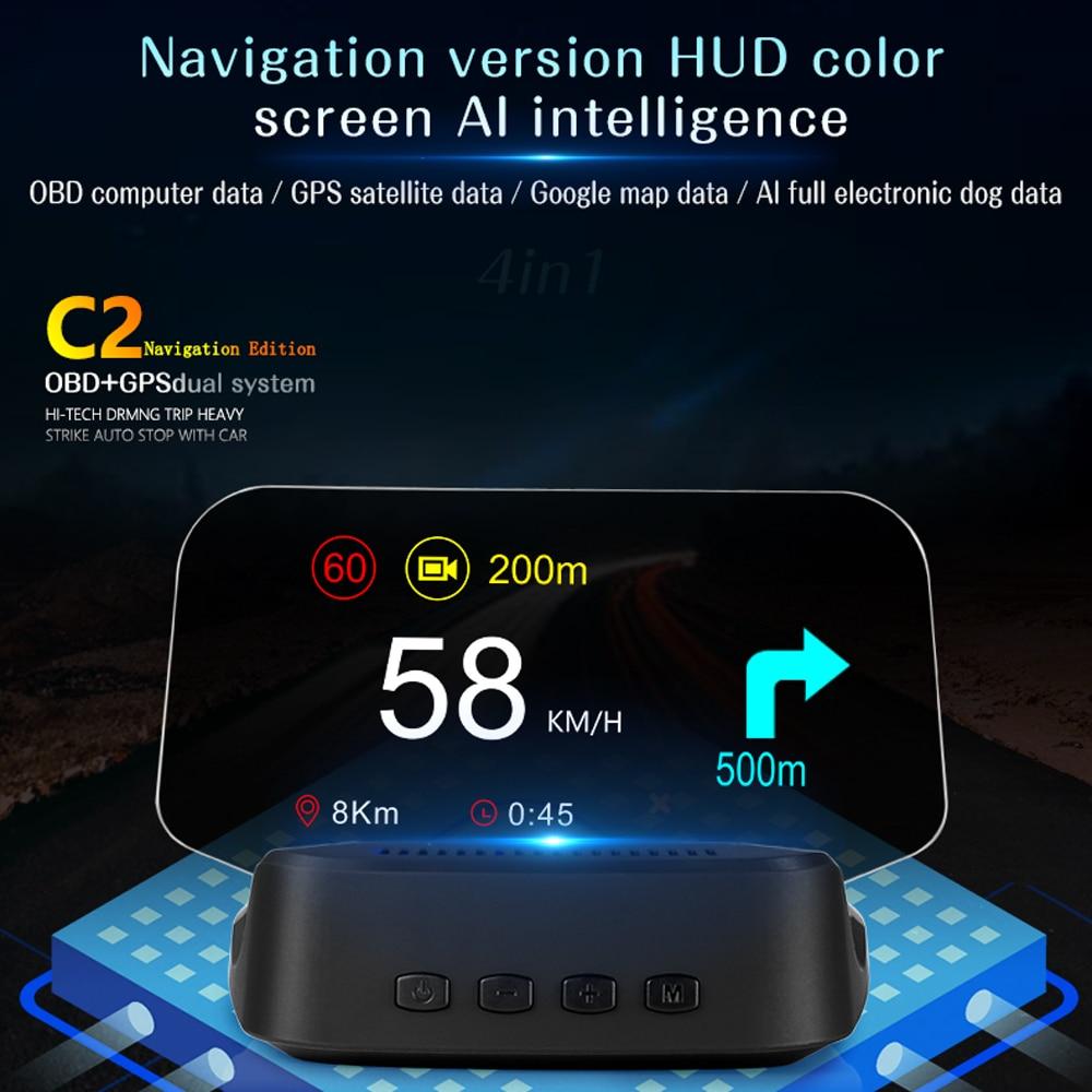 C2 Universal Car HUD Display OBD+GPS Head Up Display High Definition Speedometer Car Diagnostic Fault Code Safe Driving Alarm