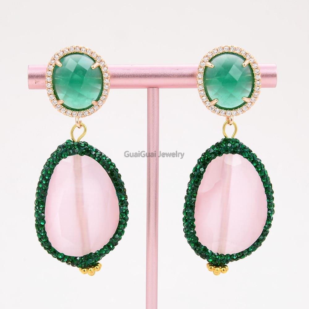 GG Schmuck Rosa Faceted CZ Gepflasterte Cat Eye Grün Jade Gold Überzogene CZ Stud Ohrringe