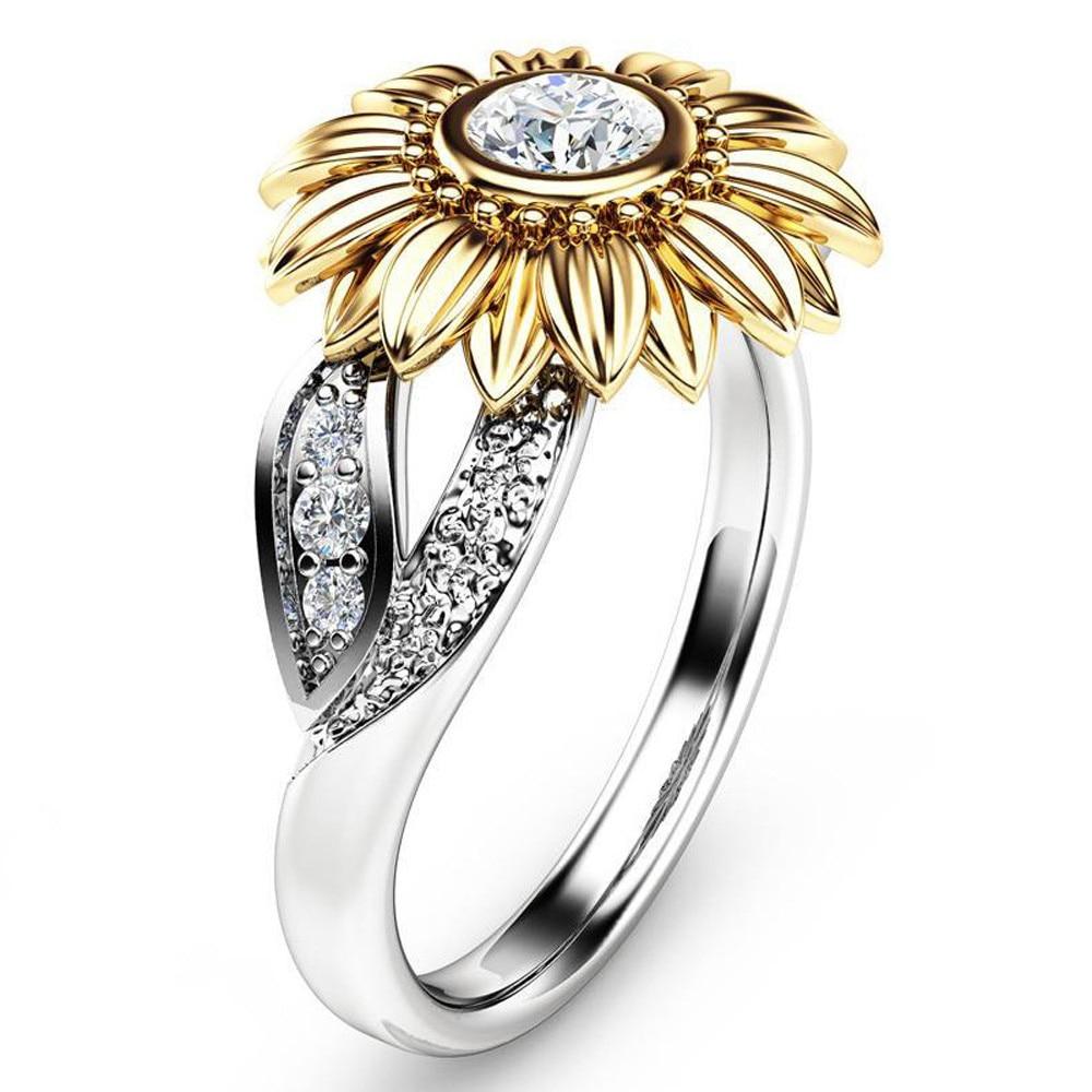 Nuevos anillos de boda con diamantes de imitación de circonia cúbica de Color dorado y plateado para mujer