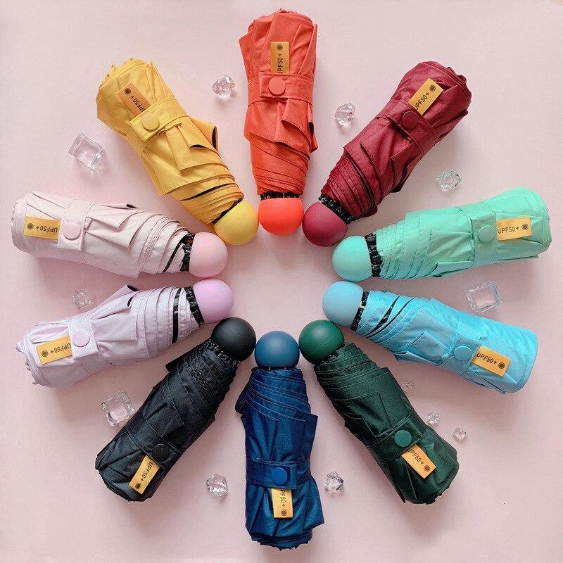 Linda Mini cápsula Paraguas Parasol Plegable sol Color Simple paraploie Parasol moda...