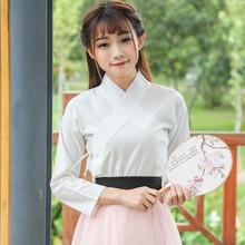 Femmes Hanfu Top blanc Festival tenue Rave Performance vêtements chinois danse hauts scène folklorique danse classique Costume DF1164