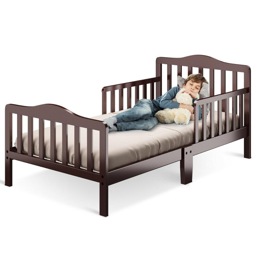 Classic Kids Children Toddler Wood Bed Bedroom Furniture w/ Guardrails