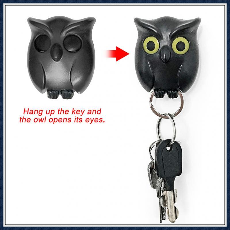 Keychain Hanger Owl-shaped Key Hook Magnet Fixed Wall-mounted Key Hook Household Rack Hanger Magnetic Storage Box Home Decora