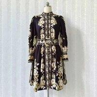 new 2021 summer designer womens flroal print stand collar long sleeves vintage dress b950