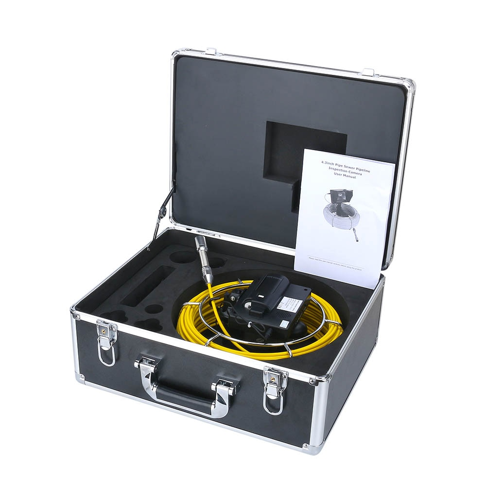 MAOTEWANG 4.3 inch Sewer Pipe Inspection Video Camera, 16GB TF Card DVR IP68 Drain Sewer Pipeline Industrial Endoscope