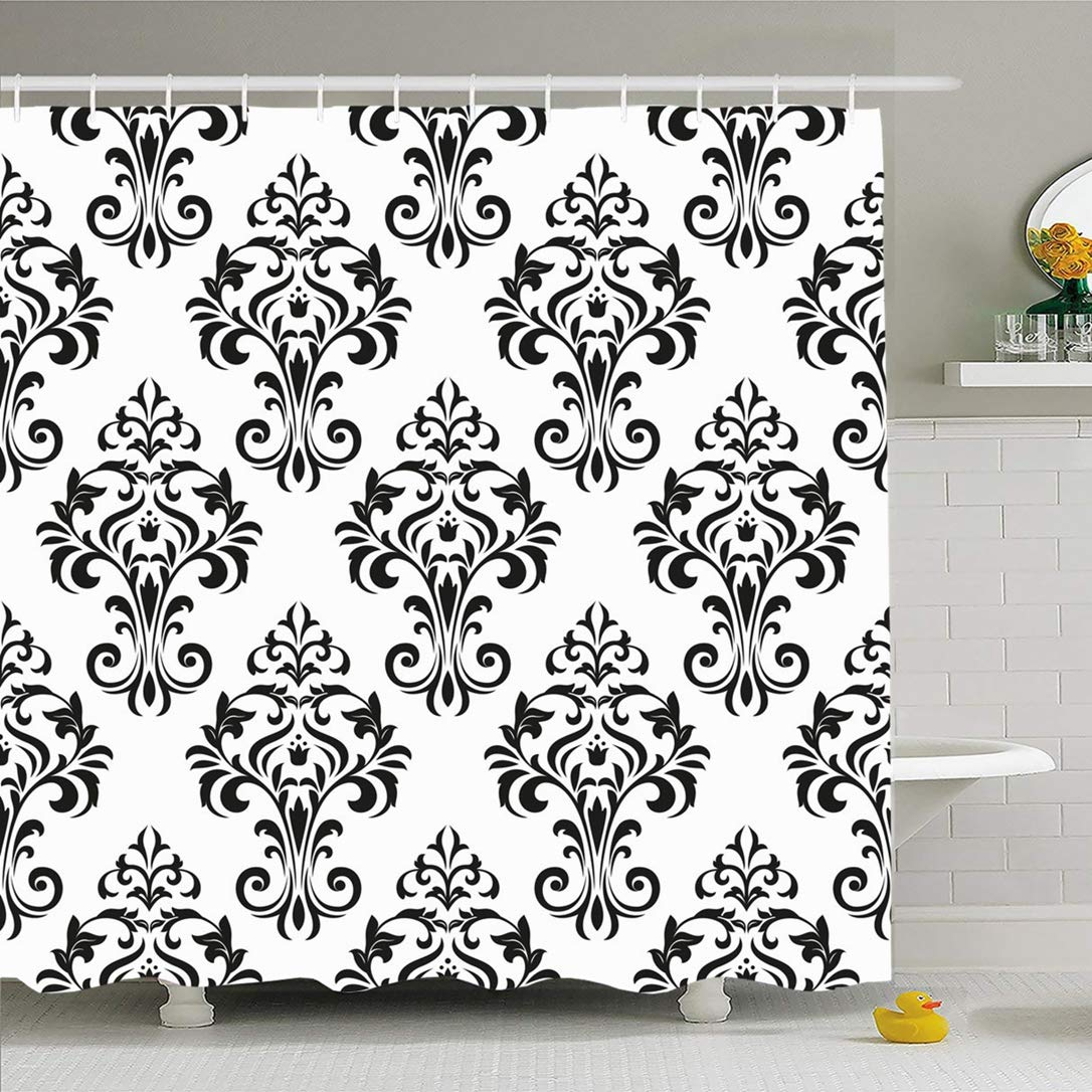 Dusche Vorhang Set mit Haken 66x72 Damast Floral Muster Old Royal Abstrakte Abstraktion Textil Barock Stil Nahtlose Texturen