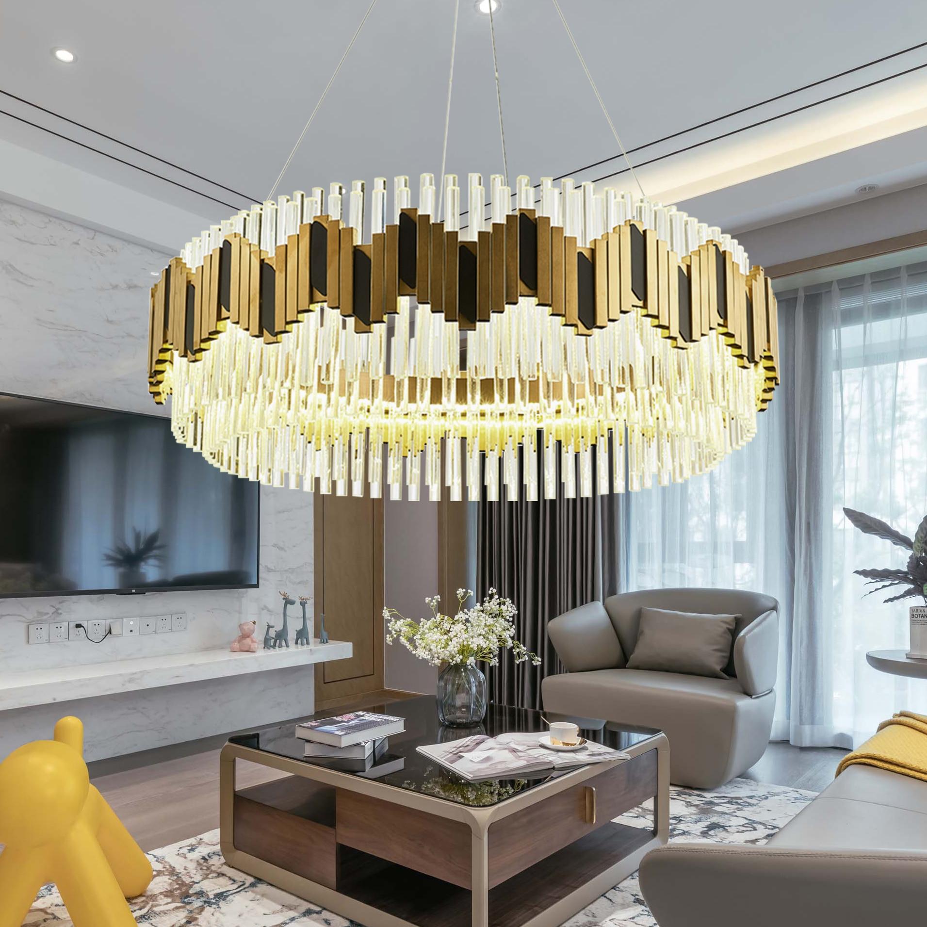Candelabros de oro moderno, lámpara colgante de Cristal de lujo para sala de estar, lámpara colgante larga para vestíbulo, candelabro LED de Cristal