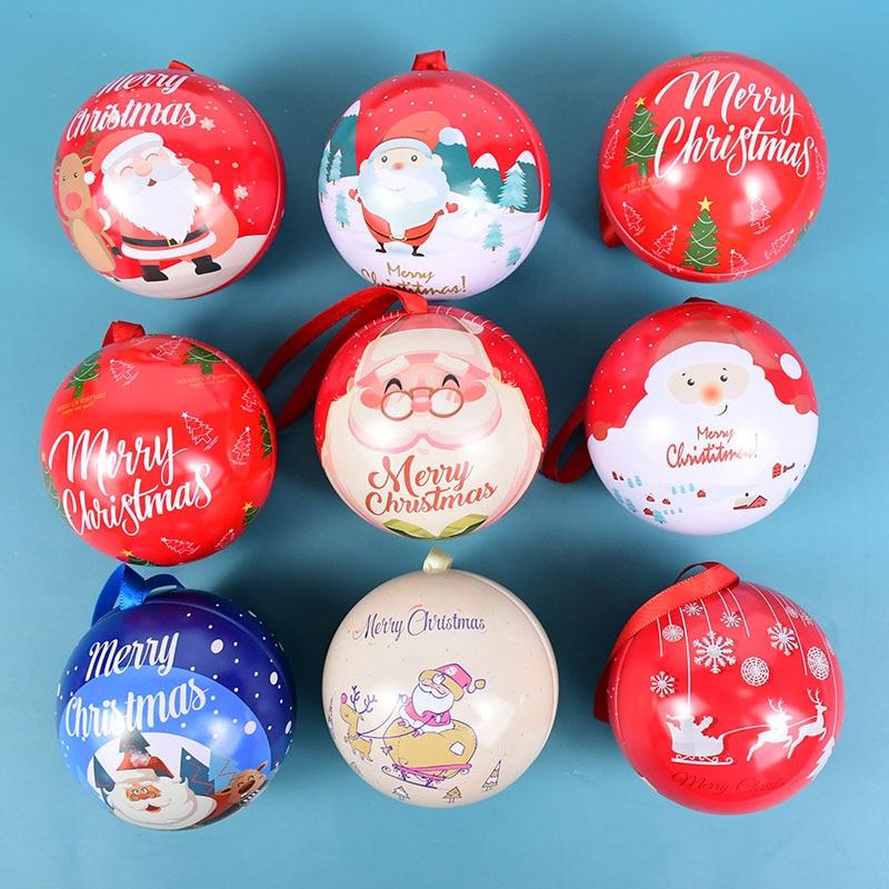 Креативная Рождественская коробка для конфет, жестяной шар, банка для конфет, Подарочная круглая коробка для упаковки шаров, украшения для ...