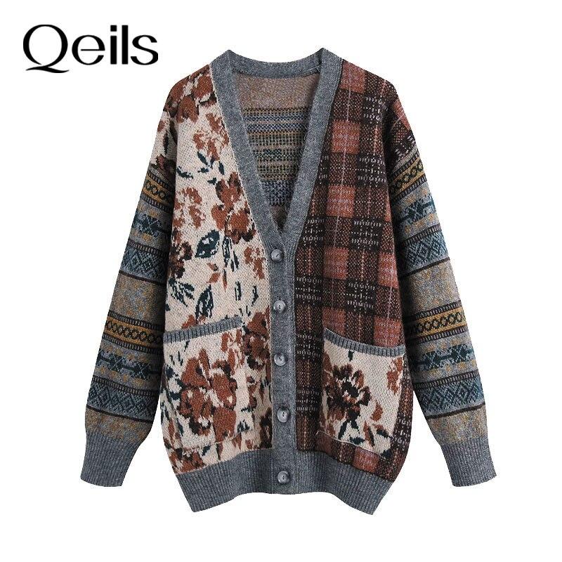 Qeils Women Fashion Loose Jacquard Knitted Cardigan Sweater V Neck Casual Vintage Long Sleeve Pocket