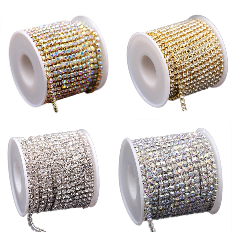 Crystal Rhinestone Close Chain Trim Sewing Craft Silver Color (AB) Gold For Crafts