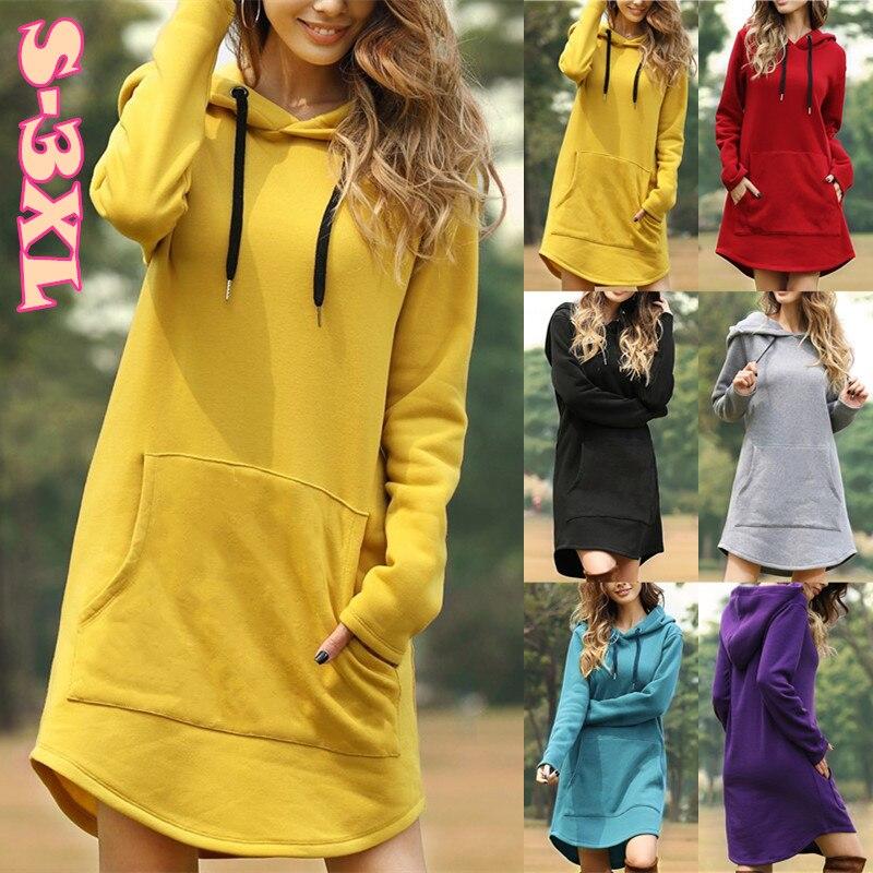 6 cores inverno feminino estilo simples bolso solto irregular bainha com capuz moletom vestido (S-3XL)