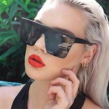 Oversized Square Sunglasses Women Brand Fashion Flat Top Male Black Clear Lens One Piece Men Gafas S