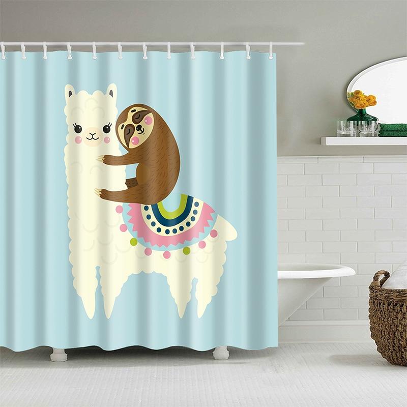 Alpaga motif rideau de bain imperméable rideaux de douche Polyester dessin animé bain écran imprimé rideau pour salle de bains décor à la maison