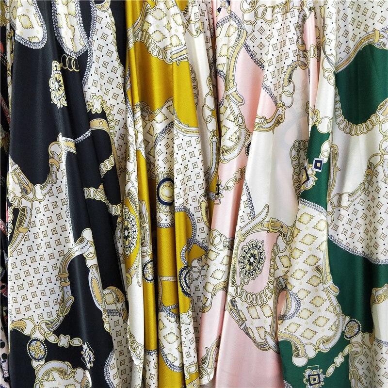 Novo europeu e americano cetim corrente impresso tecido para vestido calças fita camisa de cama