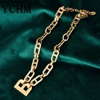 hip hop letter b initial necklace for women stainless steel chunky statement necklace aesthetic box chain choker jewelry